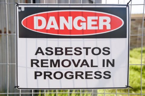 Image of danger sign for asbestos removal